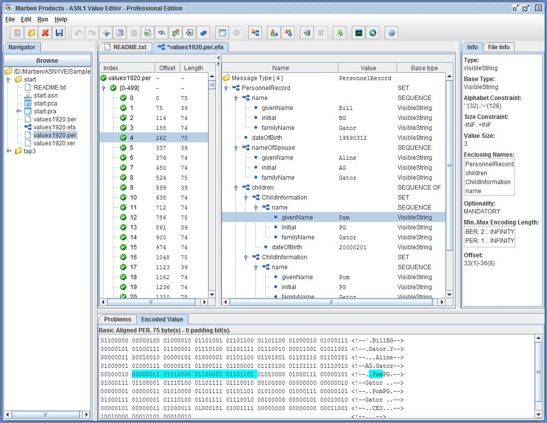 MARBEN ASN 1 Solutions: ASN 1 Value Editor / CDR Converter / ASNSDK TCE